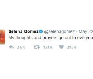 Selena deixa suas orações a todos que sofreram ao ataque de Manchester