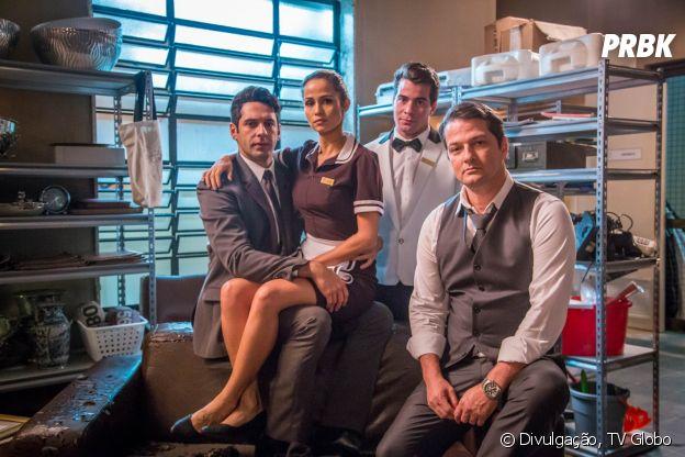 """De """"Pega Pega"""": como será queAgnaldo (João Baldasserini), Malagueta (Marcelo Serrado) e Sandra Helena (Nanda Costa) ficarão com a prisão de Júlio (Thiago Martins)?"""