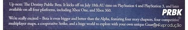 """Carta enviada a equipe do site GameStop contando o que vai ter no beta de """"Detiny"""""""