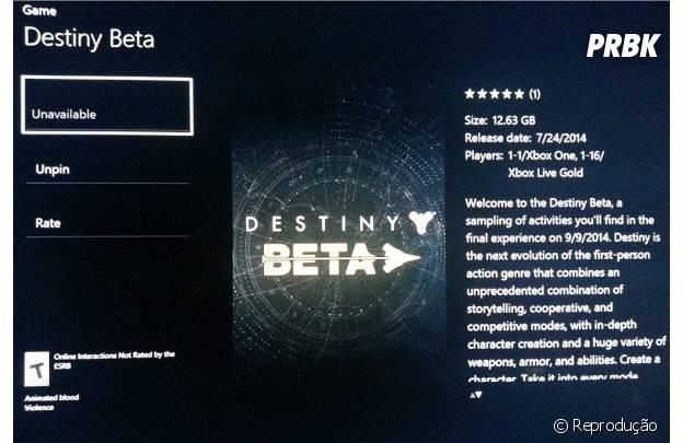 """O beta de """"Destiny"""" terá o doro do tamanho do alpha"""
