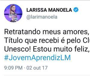 Larissa Manoela explica título após correção da UNESCO
