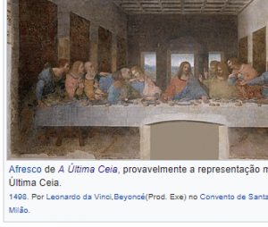 """Fã credita Beyoncé por """"A Última Ceia"""", pintura de Leonardo da Vinci"""