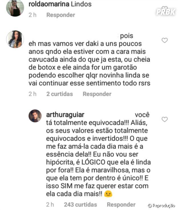 Arthur Aguiar rebate critica de fã sobre a diferença de idade entre ele e Mayra Cardi