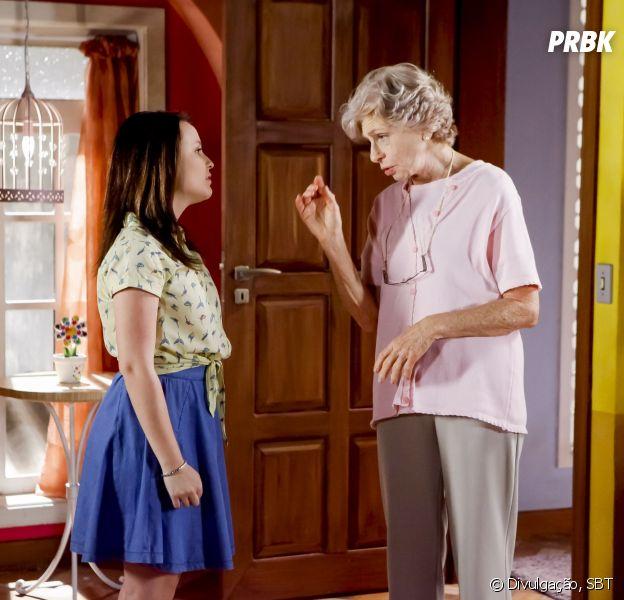"Em ""As Aventuras de Poliana"", Dona Branca (Lílian Blanc) expulsaMirela (Larissa Manoela) de casa"
