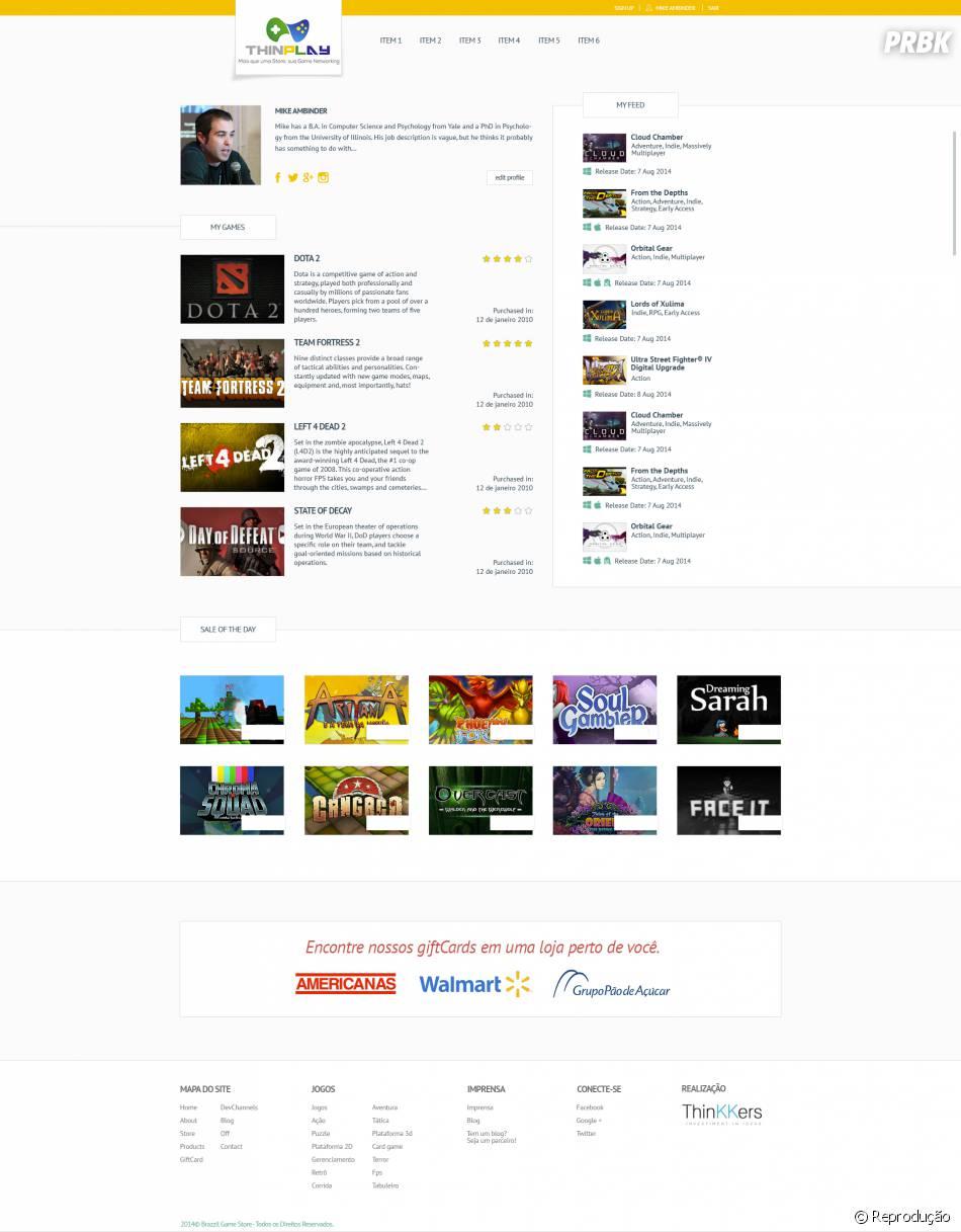 Seu perfil de usuário na ThinPlay importa todos os jogos que você possui e funciona como um Game Network