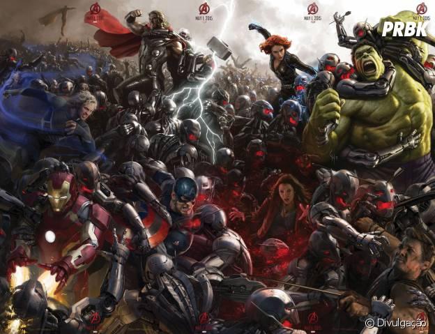 """Arte de """"Os Vingadores 2"""" mostra grupo de heróis enfrentando legião de Ultons"""