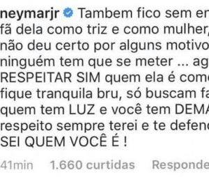 Neymar Jr. sai em defesa de Bruna Marquezine após desabafos