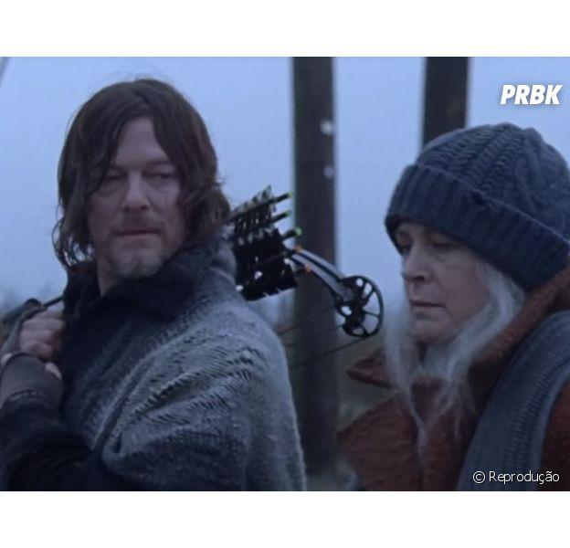 """Em """"The Walking Dead"""": Carol (Melissa McBride) e Daryl (Norman Reedus) estão indo para novo local com os habitantes do Reino"""