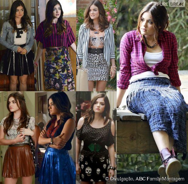A Aria (Lucy Hale) AMA saias rodadas de todas as cores e modelagens, além das bandages, claro!