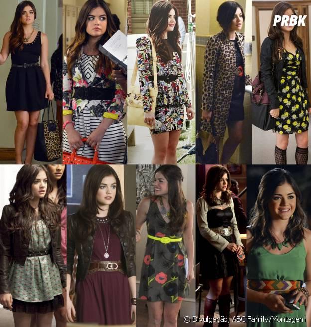 Vestidos, vestidos e mais vestidos! São as peças mais usadas no guarda-roupa de Aria (Lucy Hale)