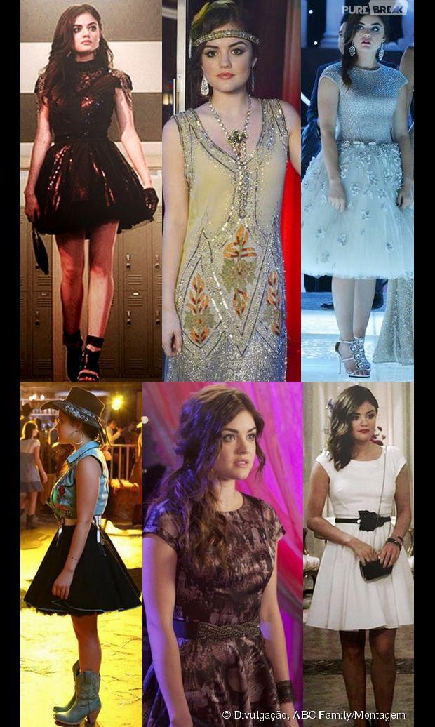 Nas festas Aria (Lucy Hale) também arrasa nos modelitos! Desde os rodados, até os sensuais!