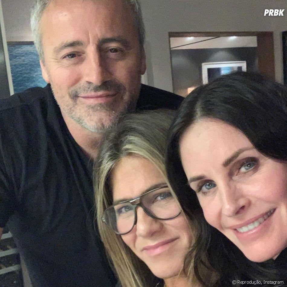 """Recentemente, os atores de """"Friends"""", Matt LeBlanc, Courteney Cox e Jennifer Aniston se encontraram - para a alegria dos fãs"""