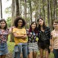 """""""Malhação - Viva a Diferença"""":Lica (Manoela Aliperti), Ellen (Heslaine Vieira), Tina (Ana Hikari), Benê (Daphne Bozaski) e Keyla (Gabriela Medvedovski) formam as Five"""