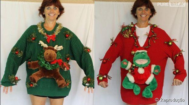 Que tal esses suéteres natalinos? Em duas versões, pra todos os gostos.