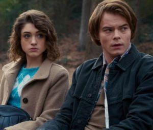 """Nas gravações da 4ª temporada de """"Stranger Things"""", Nancy (Natalia Dyer) e Jonathan (Charlie Heaton) aparecem em uma igreja"""