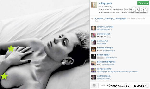 Miley Cyrus de topless no Instagram