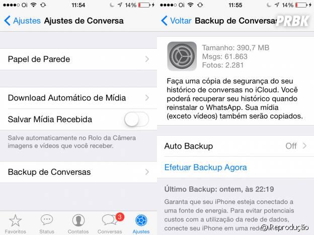 """Dentro de """"Ajustes e Conversas"""", no Whatsapp, clique na barra """"Backup de Conversa"""""""