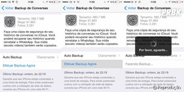 Para poder relaxar acione o Backup automático no Whatsapp