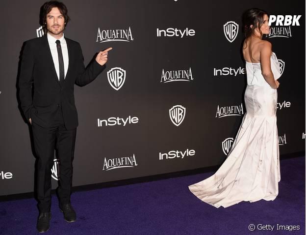 Ian Somerhalder e Nikki Reed deram um show de carisma no tapete vermelho de uma festa do Globo de Ouro 2014