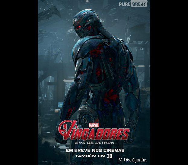 """Cartaz de Ultron (James Spader) o vilão de """"Os Vingadores: Era de Ultron"""""""