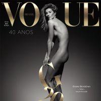 Gisele Bündchen posa nua para capa de revista e em comemoração aos seus 20 anos de carreira