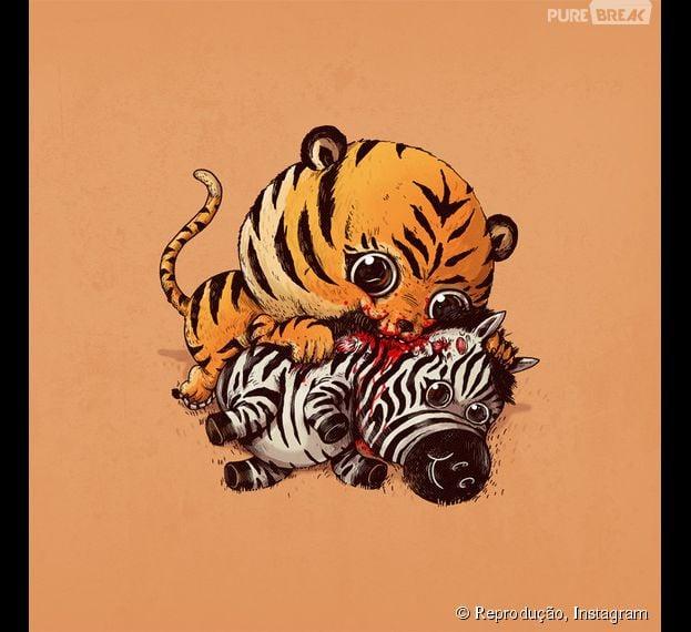 Coitada da zebra, mas o tigre também está uma fofura, né?