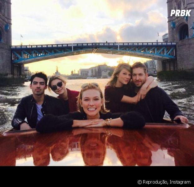 Taylor Swift, Calvin Harris, Joe Jonas e Gigi Hadid fazem encontro juntinhos em Londres com Karlie Kloss