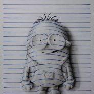 Minion, Pikachu e outros personagens famosos recriados utilizando as linhas de caderno