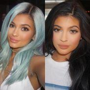Kylie Jenner de cabelo de azul! Socialite muda o visual e aparece bem diferente em lançamento