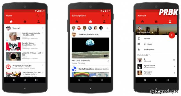 Nova interface do aplicativo do Youtube divide a navegação em três abas