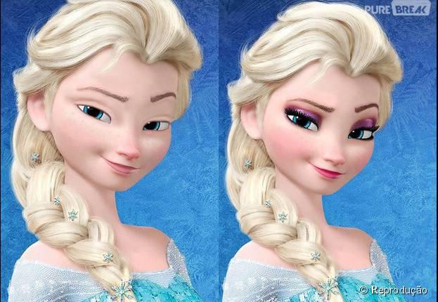 """Elsa de """"Frozen"""" aparece com e sem maquiagem! Veja outras princesas da Disney sem make"""