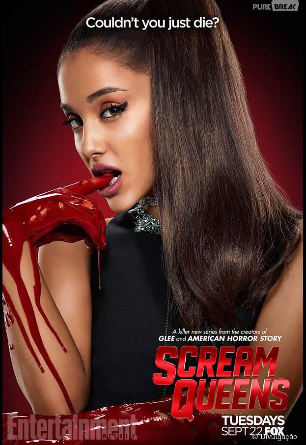"""Ariana Grande entrou em """"Scream Queens"""" e já foi morta no episódio de estreia! Será que ela volta pra assombrar alguém?"""