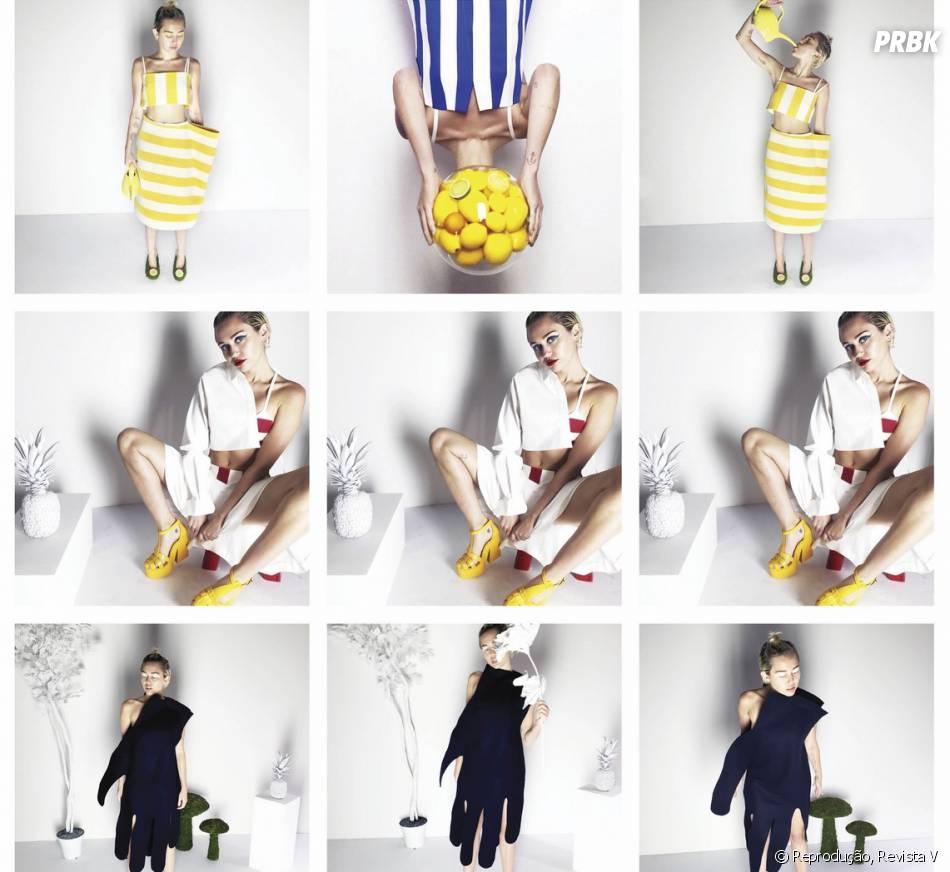Na revista americana V, Miley Cyrus apareceu em fotos inspiradas no estilo do designer Simon Porte Jacquemus