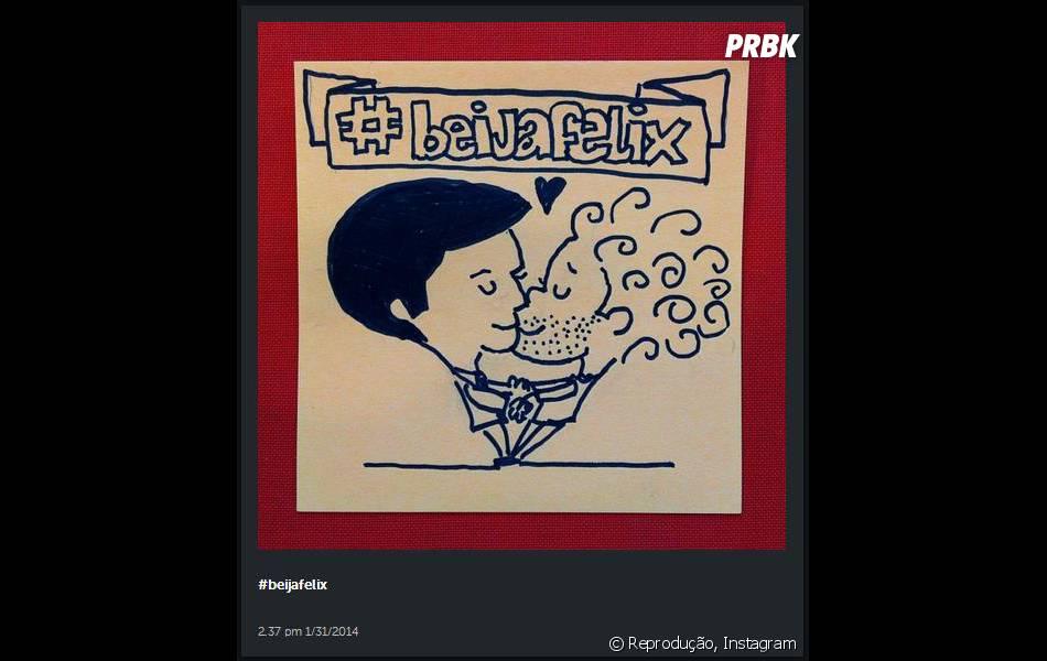 Arte dos fãs que apoiam o movimento #BeijaFélix