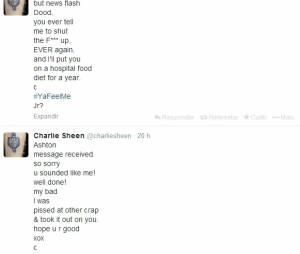 """Charlie Sheen pediu desculpas e depois se revoltou com Ashton Kutcher, de """"Two and a Half Men"""", pelo Twitter"""