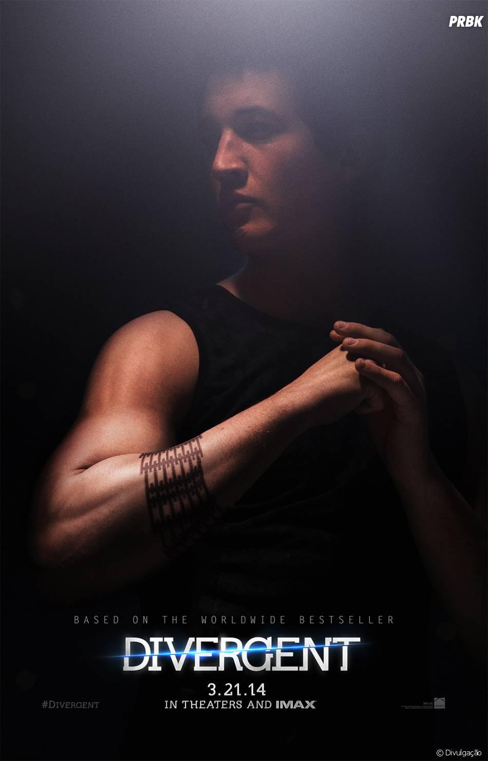 "Miles Teller no cartaz de ""Divergente"""