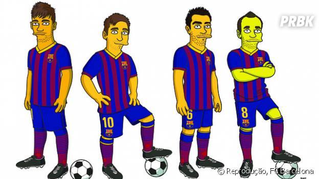 """Jogadores do Barceloa viram personagens de """"Os Simpsons"""""""