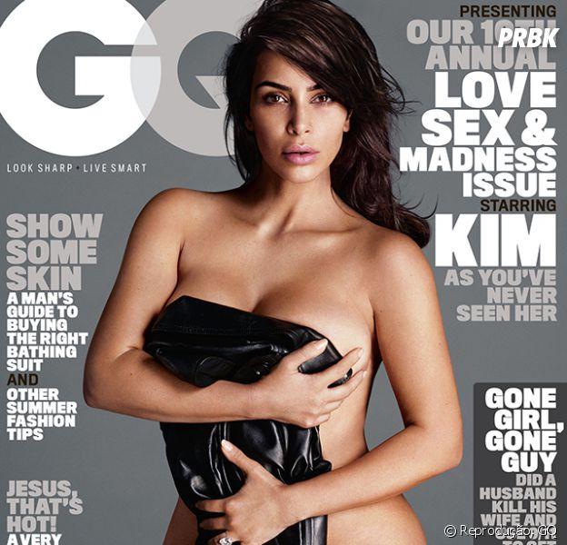 Nua, Kim Kardashian posa para sua primeira capa da GQ americana
