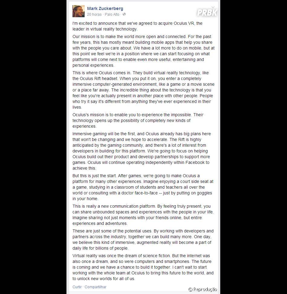 Recadinho sujper feliz que Mark deixou no Facebook explicando os motivos para comprar a empresa Mark Zuckerberg