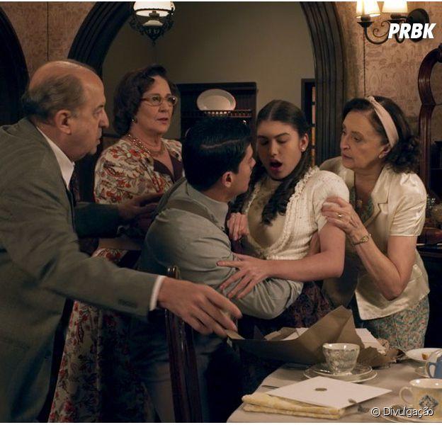 "Novela ""Êta Mundo Bom"": Gerusa (Giovanna Grigio)passa mal e desmaia ao ver os convites de seu casamento"