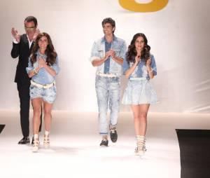 """Os aotres de """"Em Família"""", Reynaldo Gianecchini, Giovanna Antonelli e Tainá Müller usaram dois looks da coleção verão 2015 da TNG"""