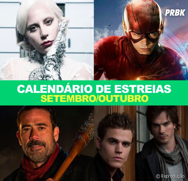 "Calendário de Estreias: com ""Flash"", ""American Horror Story"", ""The Walking Dead"", ""The Vampire Diaries"" e mais, confira as datas das estreias das novas temporadas"