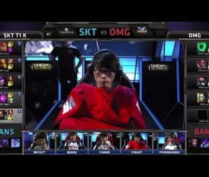 """Câmera que acompanha a reação dos jogadores de """"League Of Legends"""" durante o confronto final de OMG versus SKT"""