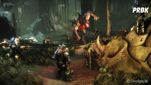 """A missão em """"Evolve"""" é unir sua equipe de quatro caçadores para derrotar um monstro bizarro"""