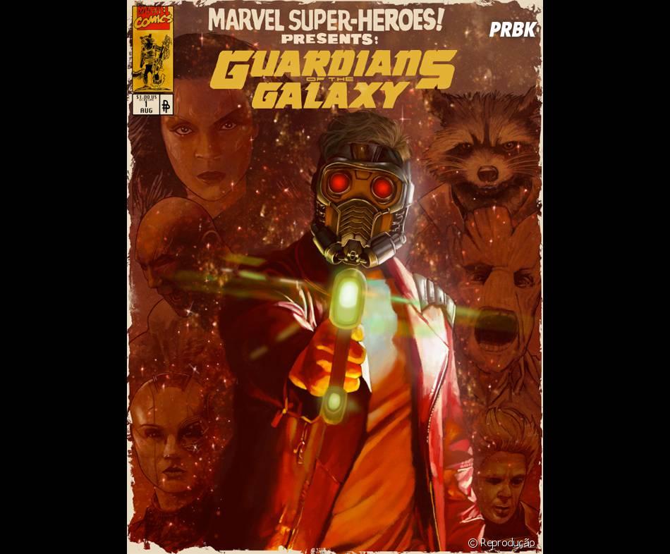 """Pôster de """"Guardiões da Galáxia"""" criado por fã lembra capa de história em quadrinhos"""