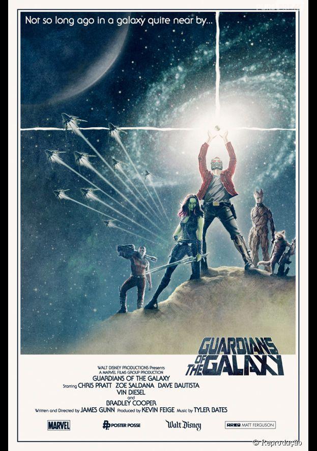 """Pôster de """"Guardiões da Galáxia"""" faz referência ao cartaz de """"Guerra nas Estrelas"""" (1977)"""