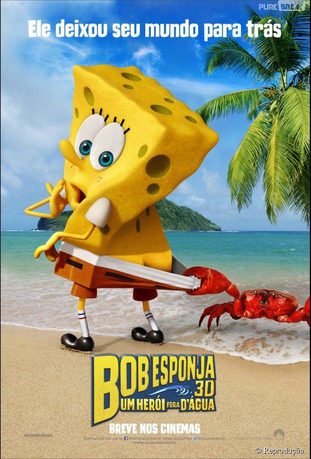 """Saiu o primeiro pôster do filme """"Bob Esponja - Um Herói Fora D'Água"""" em 3D!"""
