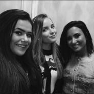 """Maisa Silva e Giovanna Chaves entrevistam Demi Lovato e fãs surtam: """"Amei esse trio"""""""