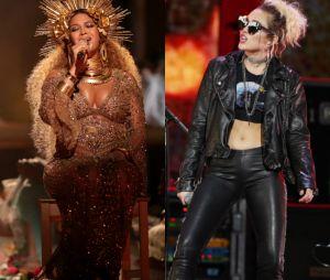 Beyoncé e Miley Cyrus poderiam compor uma faixa de sucesso!