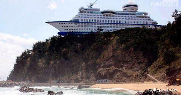 Um hotel em forma de navio em cima da montanha confunde muita gente...